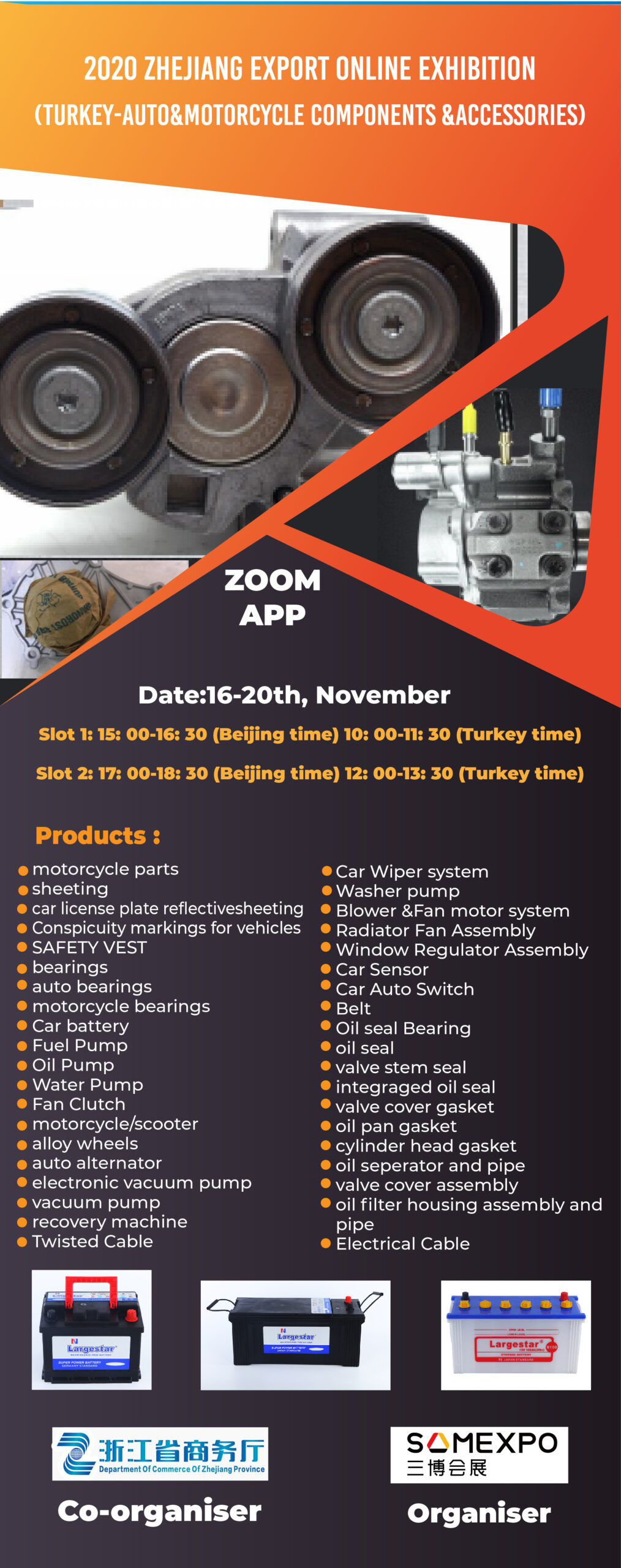 Zhejiang Export Online Fair 2020 – Turkey – Auto and Motorcycle Parts and Accessories